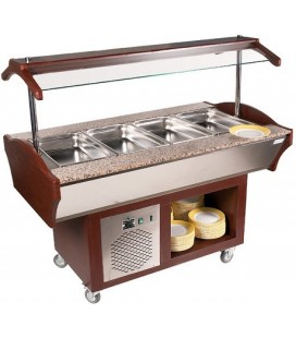 Buffet mobile central teinte acajou 0°C/+10 °C 4 GN 1/1