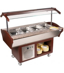 Buffet mobile central teinte acajou +30°C/+90 °C